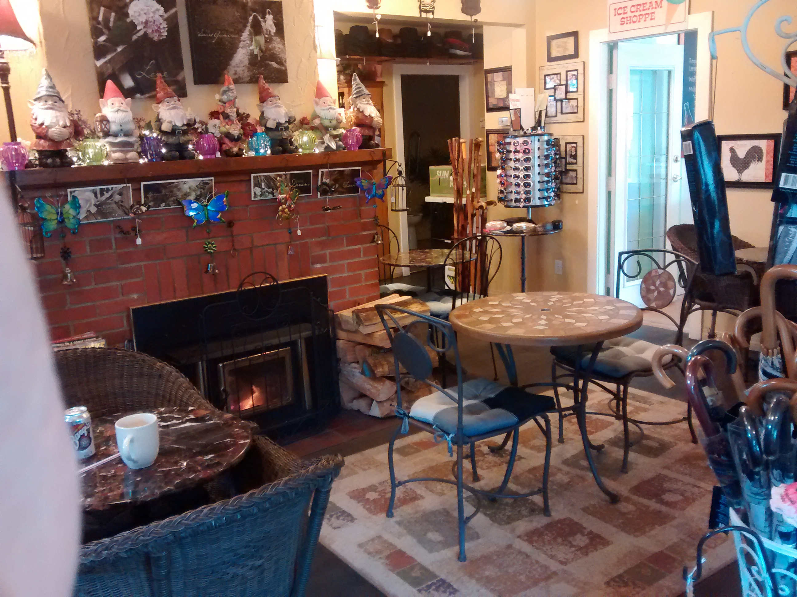 Cowichan Valley's Old Farm Gifts Specialty Coffee fireplace