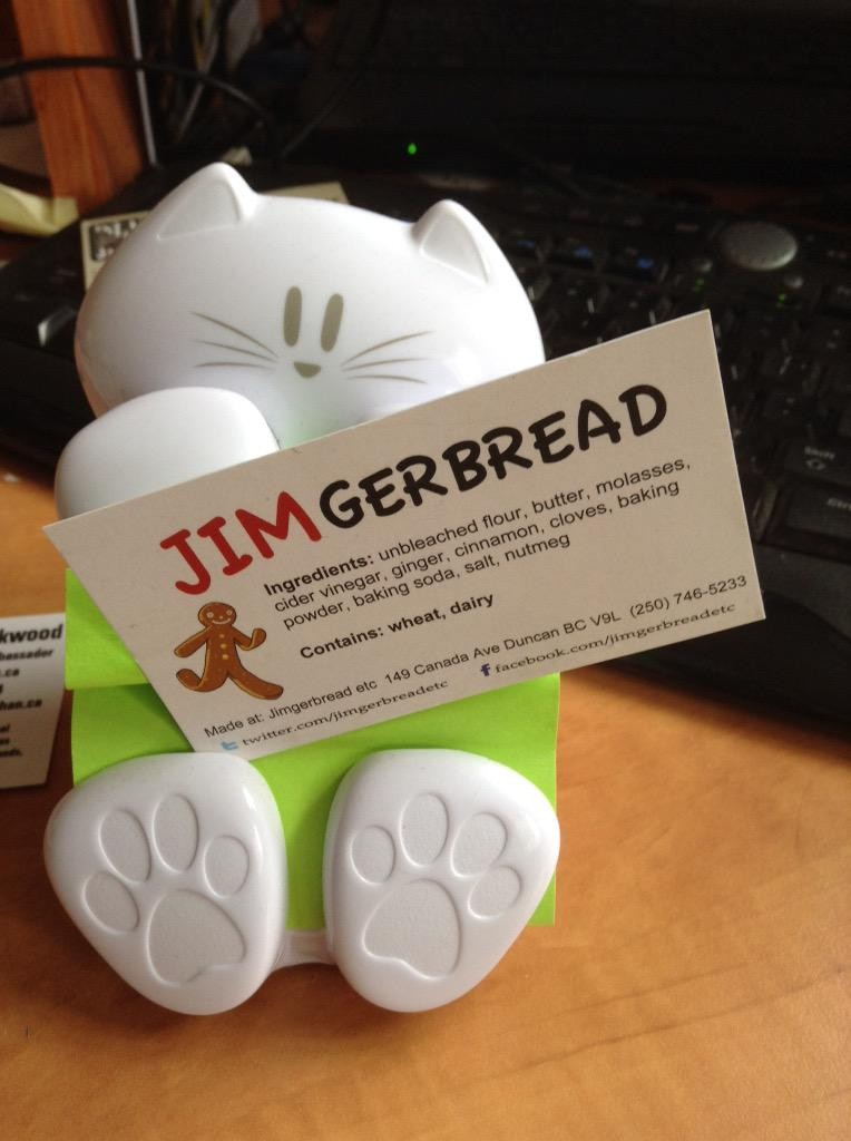 Jimgerbread Includes their Business Social Media account info on their cards