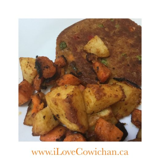 Roast Vegetables & Vegan Burger
