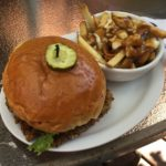 Veggie burger & poutine at V&J's in Lake Cowichan